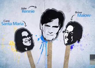 Some of the great caricatures of me, Cara, and Brian used in commercials for the show.